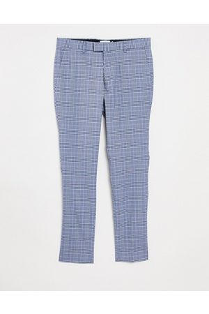 Topman Skinny checked trousers in light and navy