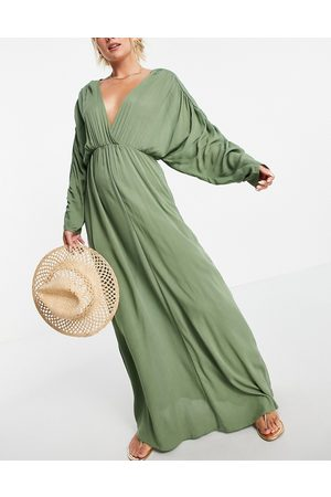 ASOS Women Maxi Dresses - Plunge front beach maxi dress in khaki