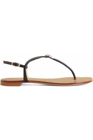Giuseppe Zanotti Women Flip Flops - Hollie Crystal leather flip flops