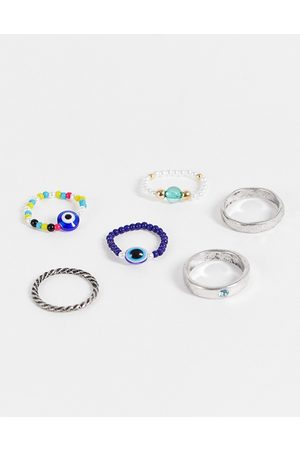 Reclaimed Inspired unisex stretch mix ring pack with eye charm in mixed beads-Multi