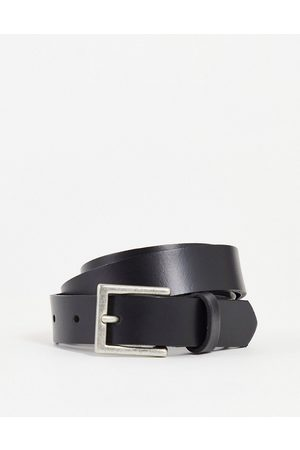 ASOS Leather skinny belt in with silver buckle