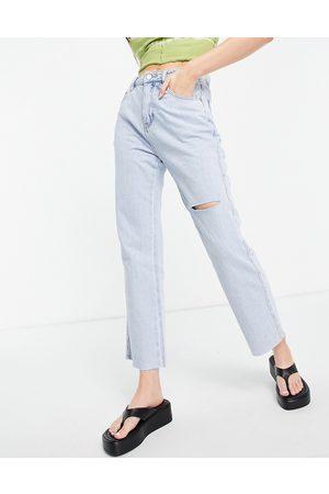 Urban Revivo Women Straight - Ripped straight leg jeans in