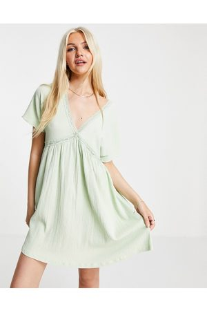 ASOS Women Summer Dresses - Mini smock dress with lace trim and frill sleeve in sage