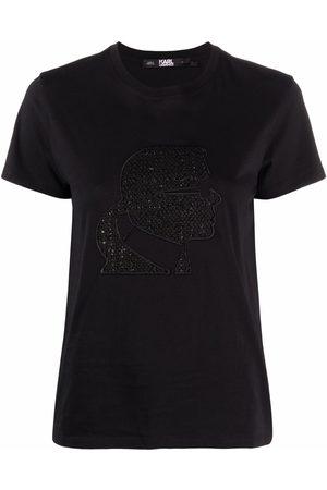 Karl Lagerfeld Women Short Sleeve - Embroidered-profile T-shirt
