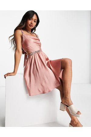 ASOS Women Summer Dresses - Satin cut out mini skater sundress in blush