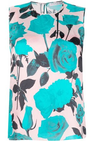 Dior Women Tank Tops - 2010s pre-owned rose print sleeveless top