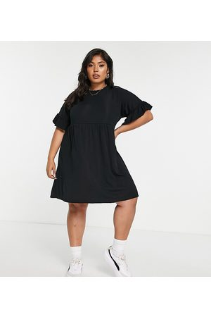 Missguided Women Casual Dresses - Ribbed smock dress with frill sleeve in