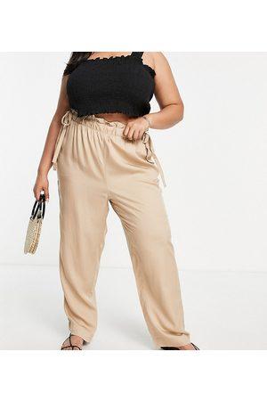VERO MODA Women Leggings - Paperbag waist cigarette trousers in camel