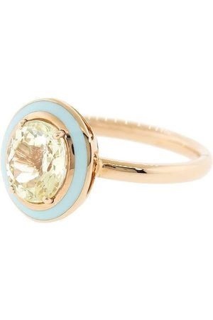 SELIM MOUZANNAR 18kt rose gold, yellow sapphire and light blue enamel ring