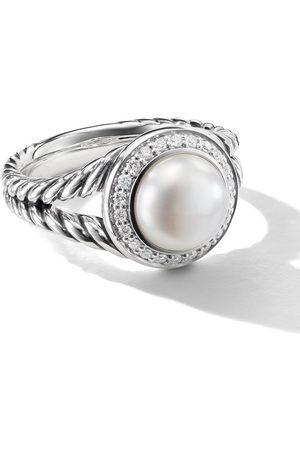 David Yurman Sterling 8mm pearl and diamond ring