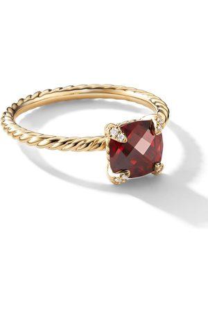 David Yurman Women Rings - 18kt yellow 7mm Chatelaine garnet and diamond ring