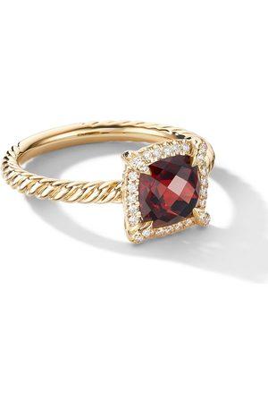 David Yurman 18kt yellow Petite Chatelaine garnet and diamond ring