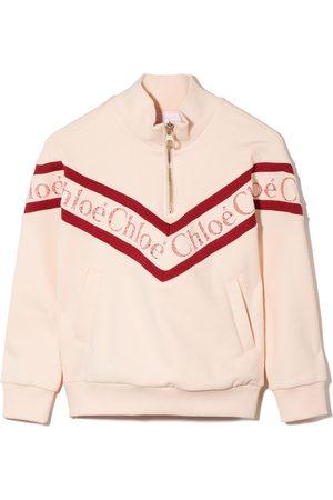 Chloé Girls Sweatshirts - Lace-logo high-neck sweatshirt