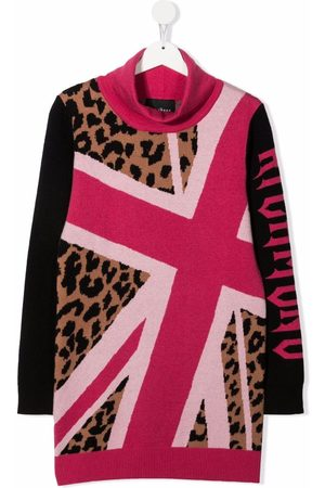 John Richmond Junior Girls Knitted Dresses - Intarsia-knit roll-neck dress