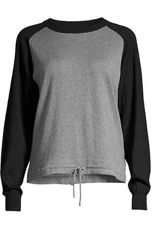 MINNIE ROSE Cotton-Cashmere Colorblocked Sweatshirt