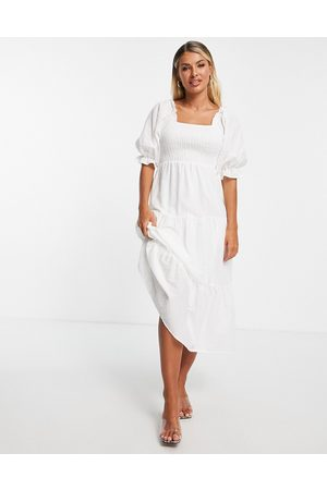 In The Style Women Midi Dresses - X Stacey Solomon shirred detail puff sleeve tiered midi dress in stone-Neutral