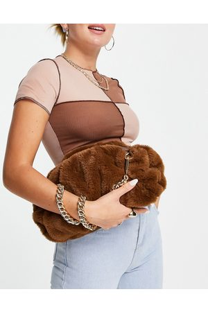 ASOS Women Clutches - Oversized ruched clutch bag in brown faux fur with detachable shoulder chain