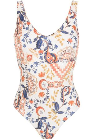 Lygia & Nanny Floral-print V-neck swimsuit
