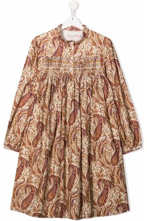 BONPOINT Girls Casual Dresses - TEEN paisley-print embroidered midi dress