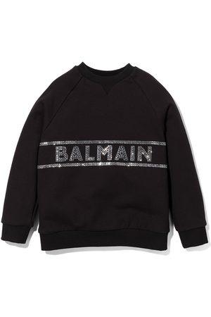 Balmain Rhinestone logo crew neck sweatshirt