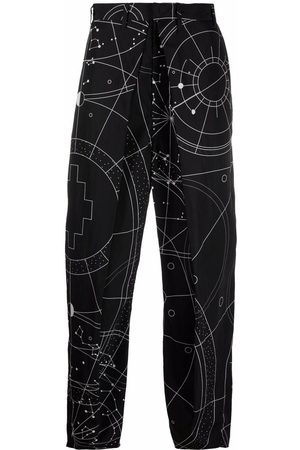 MARCELO BURLON ALL OVER ASTRAL PLEATED CHINO WHIT