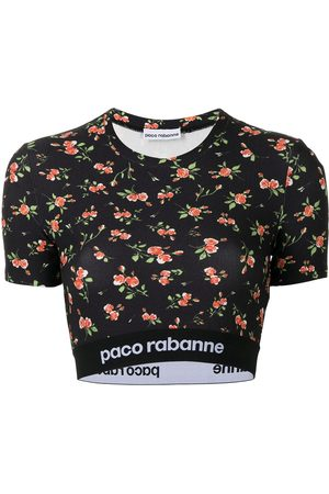 Paco rabanne Floral-print cropped T-shirt