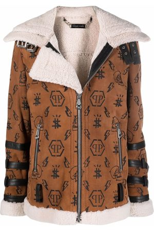 Philipp Plein Women Blazers - Monogram shearling-lined suede biker jacket