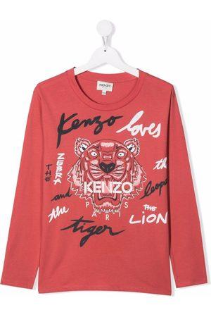 Kenzo Boys Long Sleeve - Tiger-print organic cotton T-shirt