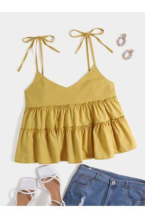 YOINS Women Camisoles - Plus Size Spaghetti Backless Design Lettuce-Edge Tie-up Design Cami