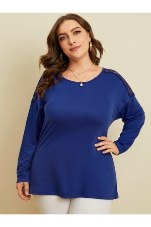 YOINS Plus Size Round Neck Patchwork Lace Long Sleeves Tee