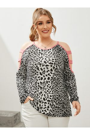 YOINS Women Long Sleeve - Plus Size Cold Shoulder Leopard Cut Out Knit Long Sleeves Tee