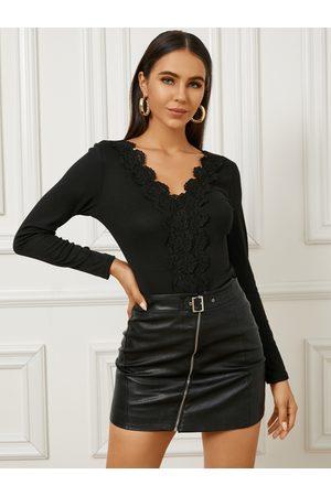 YOINS Women Long Sleeve - Lace Trim Patchwork V-neck Long Sleeves Knitwear