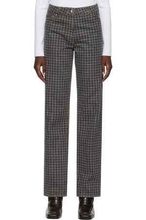 Women Jeans - Nina Ricci Grey Printed Houndstooth Jeans