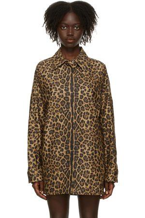 Women Shirts - Valentino Tan Leopard Micro-Faille Shirt