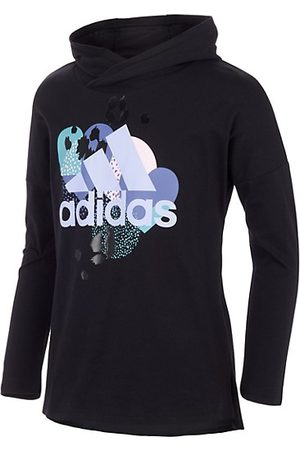 adidas Girls Long Sleeve - Little Girl's Hooded Logo Graphic Long-Sleeve Tee