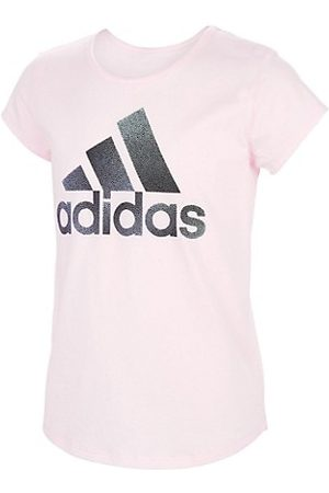 adidas Girls Short Sleeve - Little Girl's & Girl's Cotton Logo Scoop Neck T-Shirt