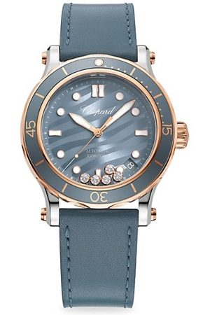 Chopard Watches - Happy Ocean Stainless Steel, 18K Rose Gold, Diamond & Leather Strap Watch