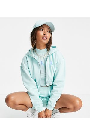 Calvin Klein Jeans Exclusive logo zip through cropped hoodie co-ord in mint