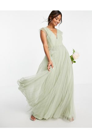 ASOS Tulle plunge maxi dress with shirred sleeves in sage