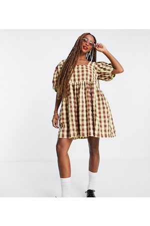 COLLUSION Women Casual Dresses - Oversized gingham mini smock sundress in green and brown-Multi