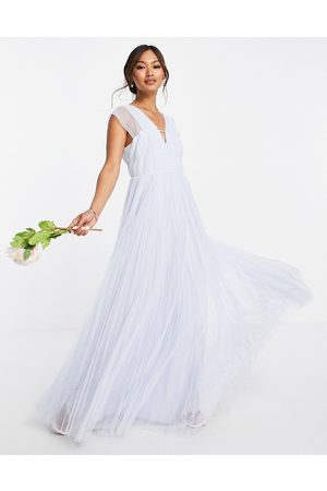 ASOS DESIGN Women Party Dresses - Tulle plunge maxi dress with shirred sleeves in powder