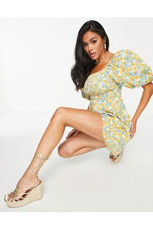 In The Style Women Printed Dresses - X Stacey Solomon volume cap sleeve mini smock dress with shirred bust detail in yellow floral-Multi