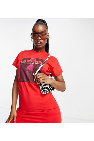 AsYou Women Casual Dresses - Cinched waisted t-shirt dress with imfierce graphic in