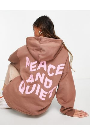 ASOS Oversized hoodie with peace and quiet graphic in