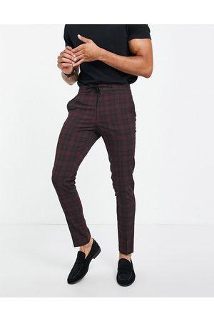 ASOS Co-ord smart skinny tartan drawcord waist trousers in burgundy
