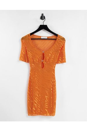 EI8TH HOUR Women Bodycon Dresses - Cut out bodycon mini dress in orange zebra print-Multi