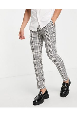 Topman Skinny checked trousers in pink and yellow-Multi