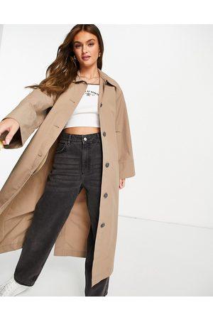 Monki Hilde trench coat in mole