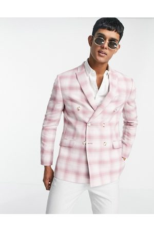 Topman Men Blazers - Skinny fit double breasted suit jacket in check