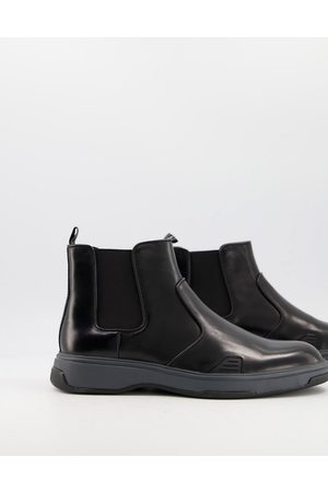 Calvin Klein Pancho chunky chelsea boots in leather